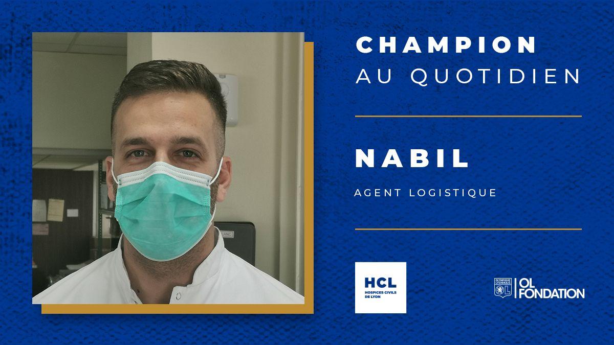 Nabil fait partie de nos #ChampionsAuQuotidien, mobilisé contre lépidémie de #COVID19. Il est agent logistique aux @CHUdeLyon 💪 #RestezPrudents #sOLidaire #JouonsLaCollectif