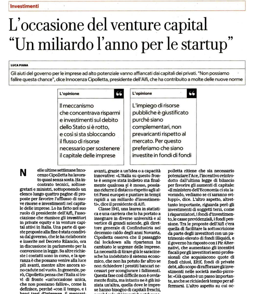 """Motore d'#innovazione """"L'occasione del #venturecapital Un miliardo l'anno per le #startup """" @LukaPiana su @RepubblicaAF  💰 900milioni i ricavi nel 2018, oltre 50% da startup investite da #CVC  👉 https://t.co/9Zsw2GBeW6 @As_Aifi @crunchbase @MISE_GOV @GruppoCDP @TalentGardenit https://t.co/GDRoC5vRj8"""