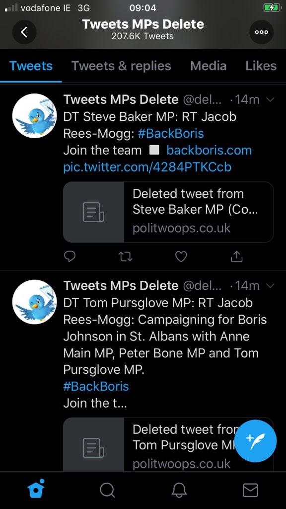 Rees-Mogg deleting #BackBoris tweets. Trouble at mill? <br>http://pic.twitter.com/Q2NTzC6Ga9