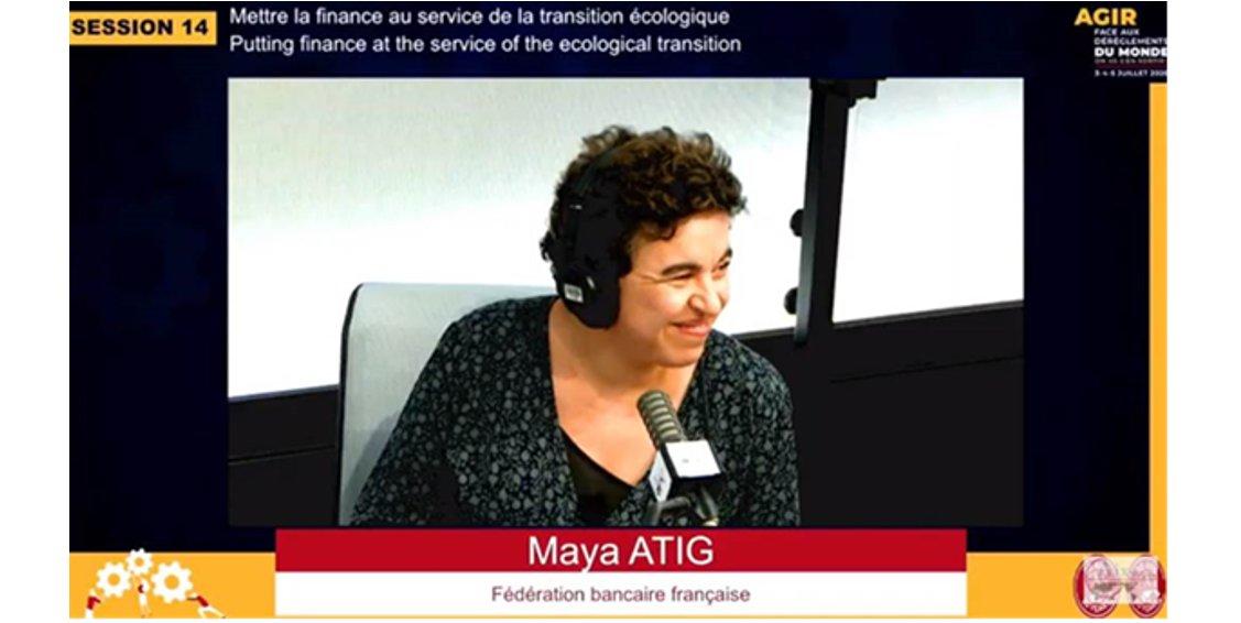 """#AixEnSeine """"Les banques 🇫🇷, au service d'une économie bas carbone, écologique & inclusive, prennent ttes des engagements forts et les mettent en œuvre"""". 👉L'intervention de Maya ATIG lors de la table ronde « Mettre la finance au service de la transition » https://t.co/3A3DkCNlkx https://t.co/nNgPWmiLpX"""