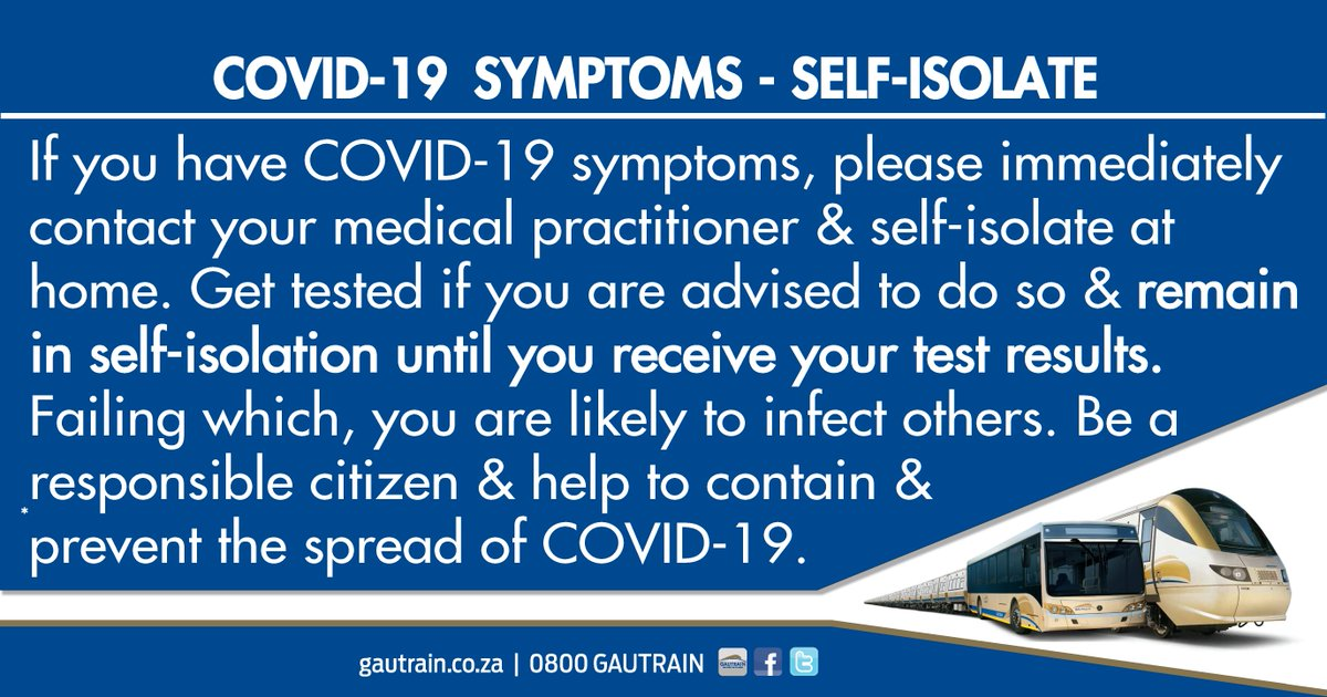 COVID-19 symptoms:  self-isolate and contact your medical practitioner. https://t.co/A6IQJMmO1t