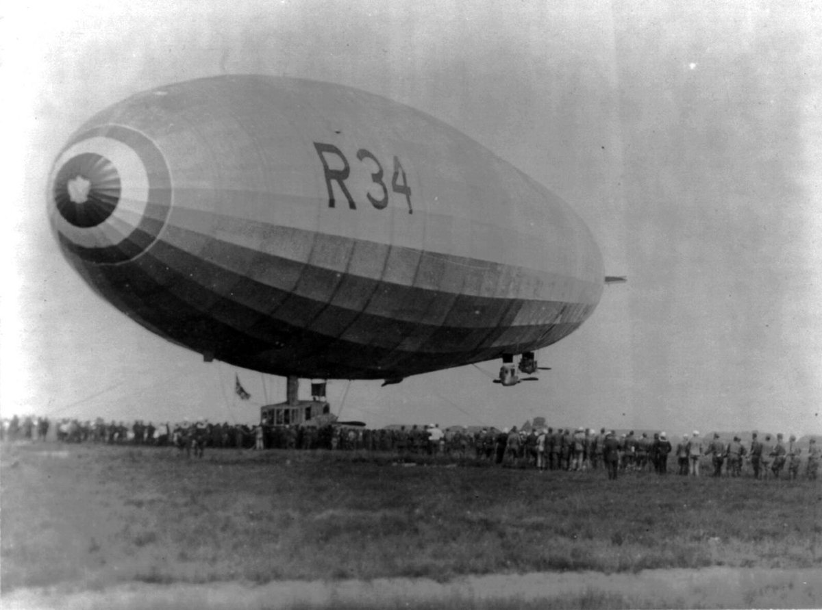 #OnThisDay in 1919 : A RAF airship completes the first airship crossing of the Atlantic. Major GH Scott and a crew of 30 RAF and US Navy personnel fly the airship R34 from East Fortune in Scotland to New York. H3 in London holds the part of the R33, the sister ship of the R34. pic.twitter.com/aamjOV9Cag