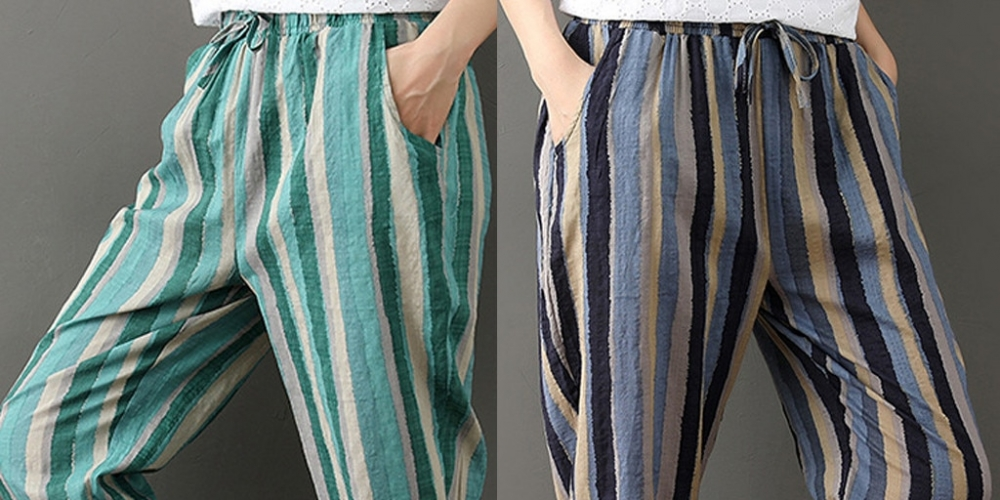 #happy Kikres Femmes coton lin Harlan taille élastique rayure imprimé pantalon poches pantalon harem pantalon femmes #0320 12.99 $