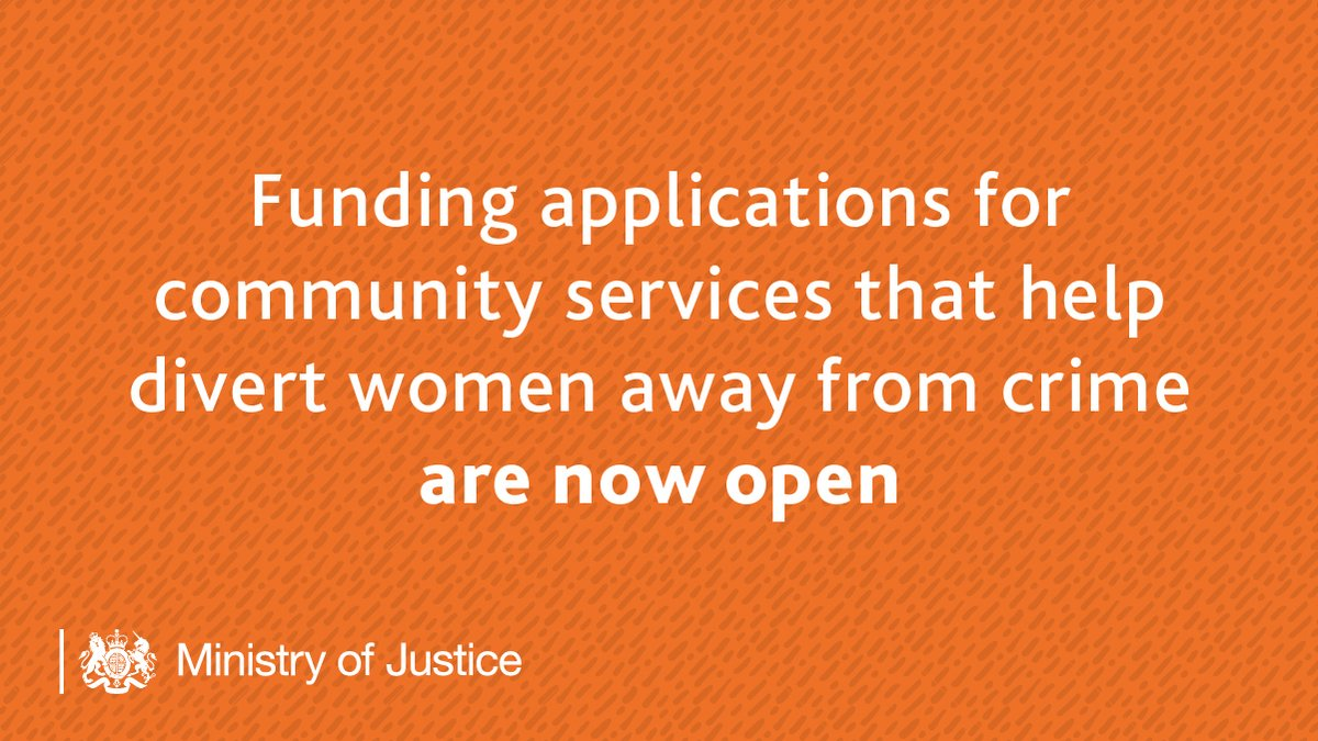 Early intervention helps address vulnerabilities that could lead to offending.   In May, we announced £2.5 million funding for community services which support women at risk of being drawn into crime https://t.co/ilyi5AtwMH   Apply now: https://t.co/SeuWqoxoV1 [Search ITT_4373] https://t.co/7VVo6WMkPL