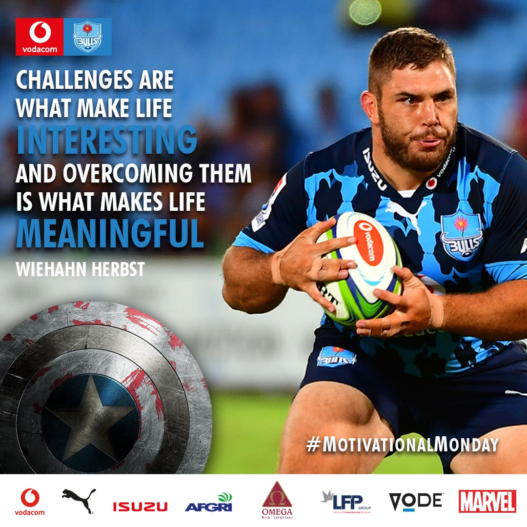 #MotivationalMonday Challenges are what make life interesting and overcoming them is what makes life meaningful. - Wiehahn Herbst 🔥 #BullsFamily