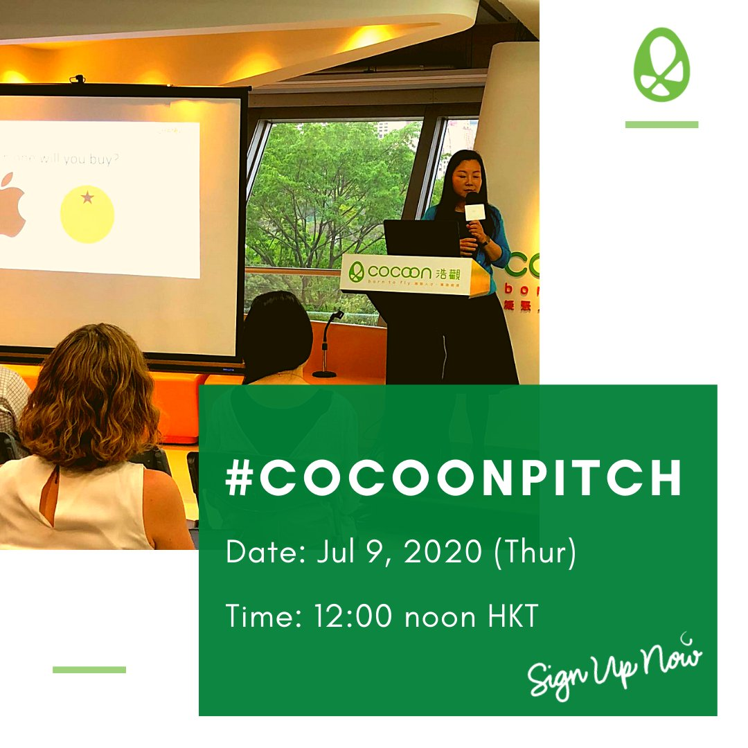 "When was the last time you experienced a ""wow"" moment? Join the next #CoCoonpitch to take away some compelling ideas and insights!  RSVP:    #pitch #startup #hkstartup #entrepreneurship #investors #professionals #eventbrite #hkcocoon #cocoonpitch2020 # ... https://t.co/YY4GM7d9zB https://t.co/pJWkI42Kps"