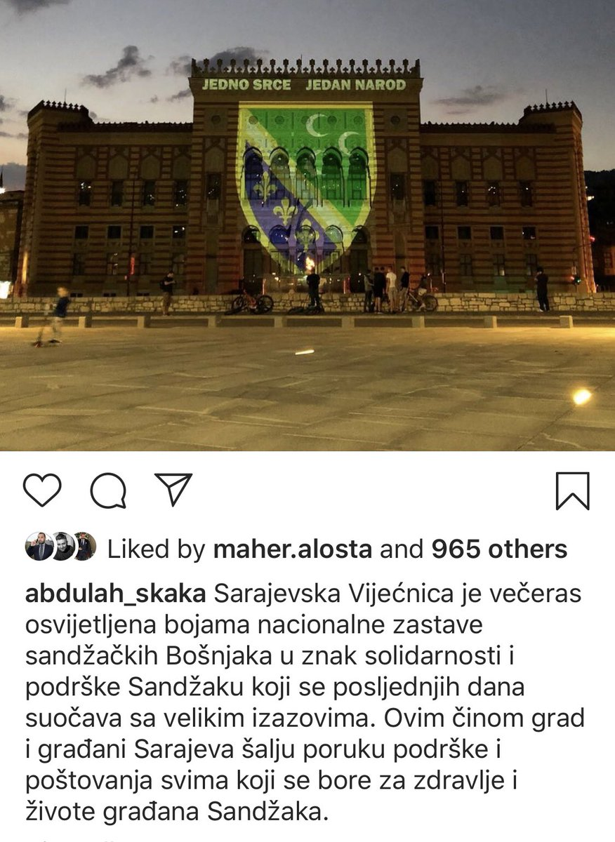 Ko odlučuje šta će se postaviti na Vijećnicu i na osnovu kojih kriterija? Jel' Skaka sam odluči kome građani Sarajeva šalju podršku i s kim smo jedno srce-jedan narod? #samopitam https://t.co/6XzaQ5aj1d