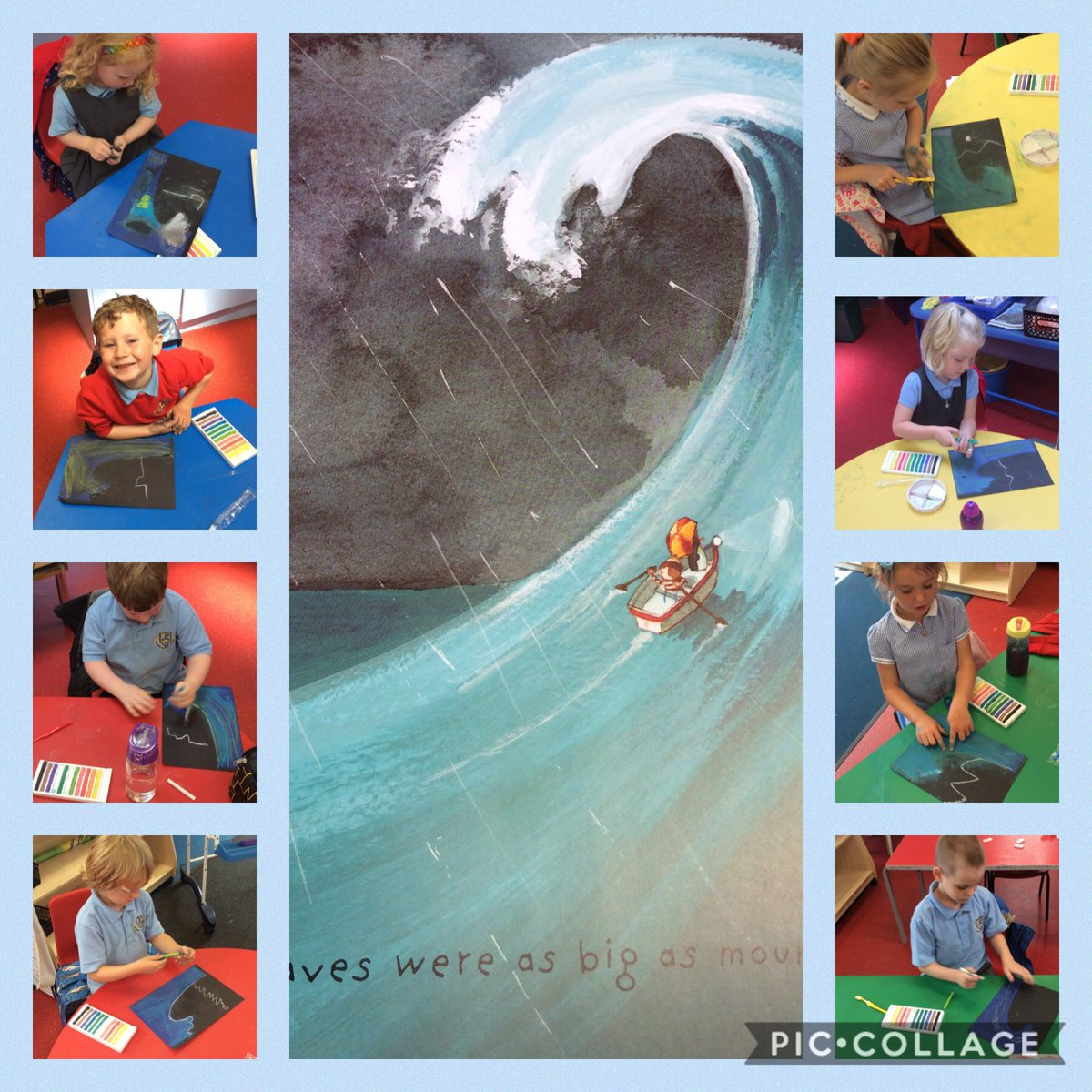 Another busy afternoon in our bubble. We have made our own wave pictures using pastels and paint. Aren't they fabulous! #LostandFound #Art #Learningpic.twitter.com/3CN12Gwk2J