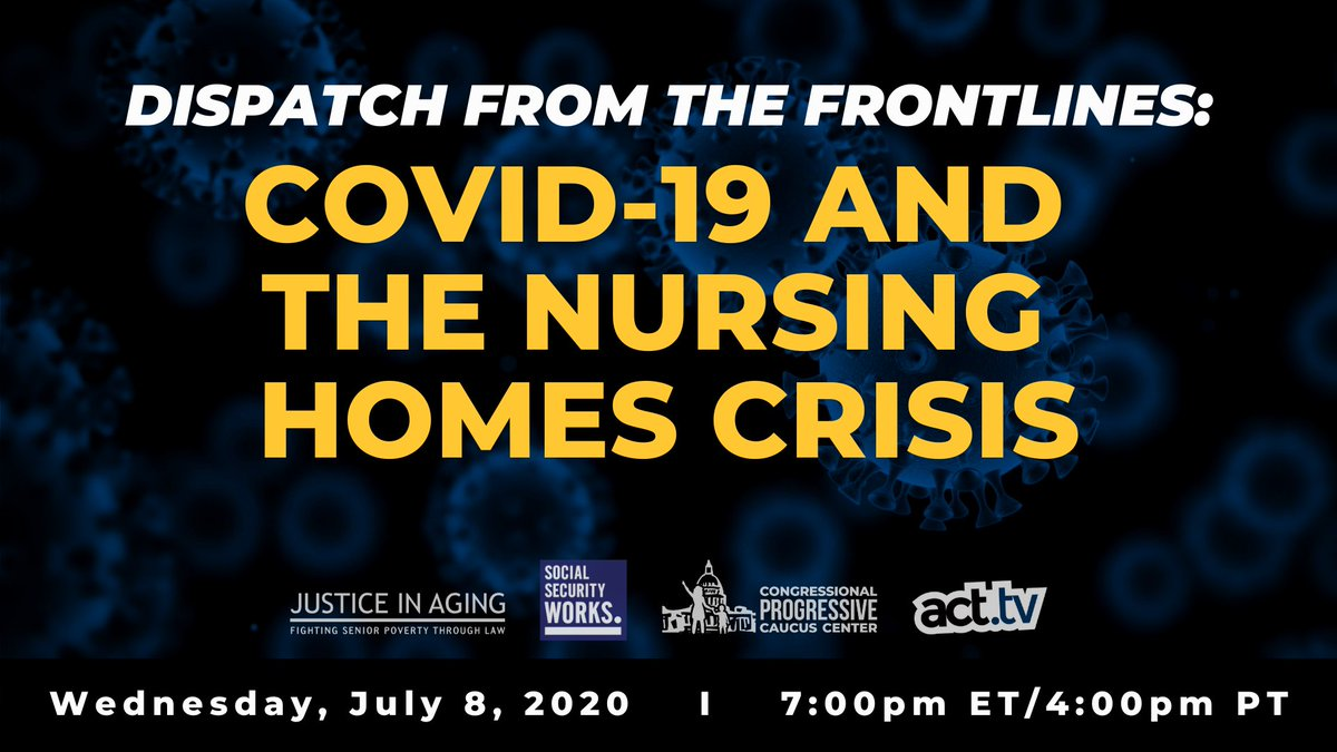 At least 54K nursing home residents & workers have died due to #COVID19 – more than 43% of the overall deaths in the US. Join us and @janschakowsky @justiceinaging @SEIU @actdottv & @WeBuildProgress on Wednesday as we discuss the #NursingHomeCrisis   RSVP: https://t.co/p2NpRozS0b https://t.co/bgqCvilUYv