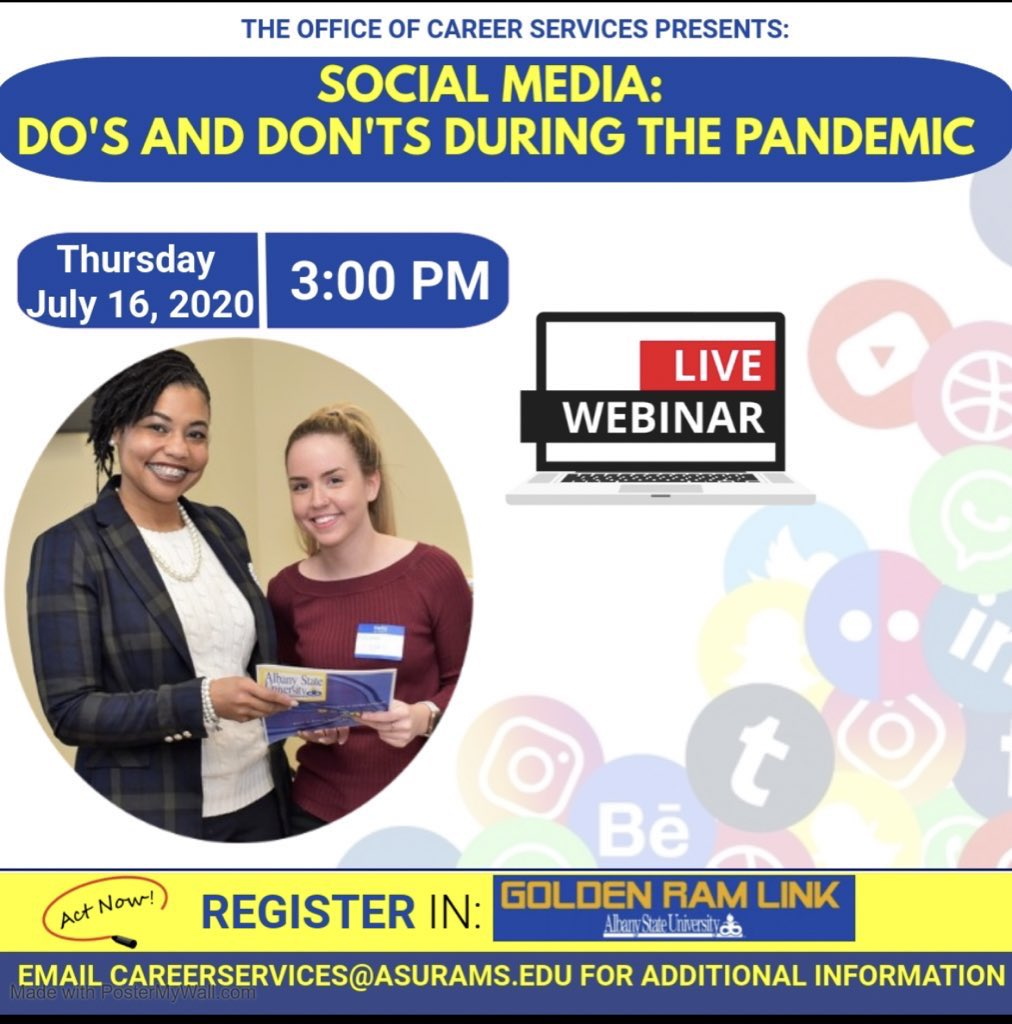 🚨Albany State University Rams🚨  Learn the Do's and Don'ts of Social Media. Act Fast! Register Now! Register by emailing careerservices@asurams.edu or register in Golden RamLink. #ASUTwitter https://t.co/qxP7IFiwT5