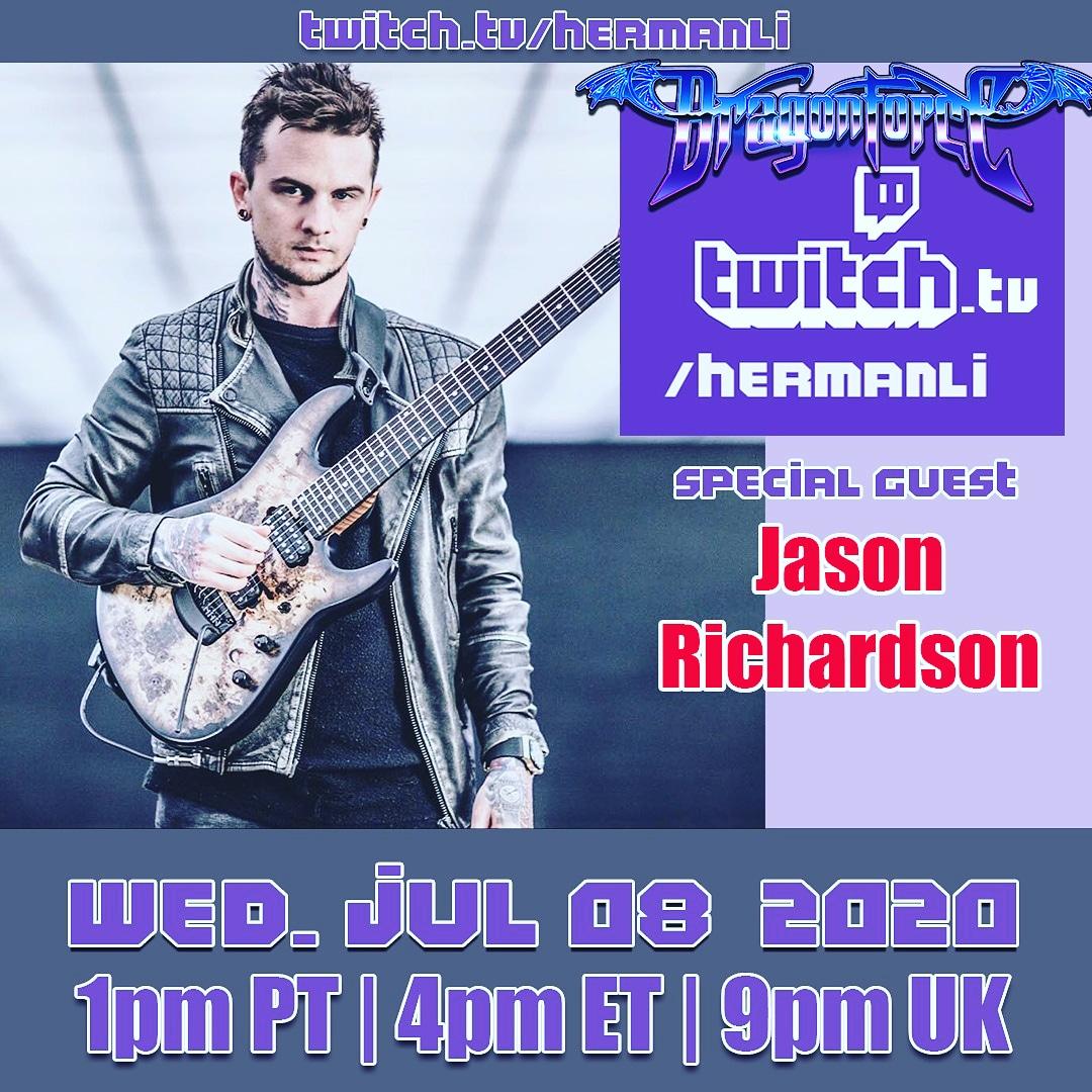This Wednesday's special guest is super shredder @jasonGRIN (solo /  @ATRhq)  Live on http://twitch.tv/hermanli 1pm PT / 4pm ET / 9pm UK #dragonforce #hermanli #livestream #twitch #jasonrichardson #allthatremains #shredguitar #guitarsolos pic.twitter.com/ynlAXSnGZb