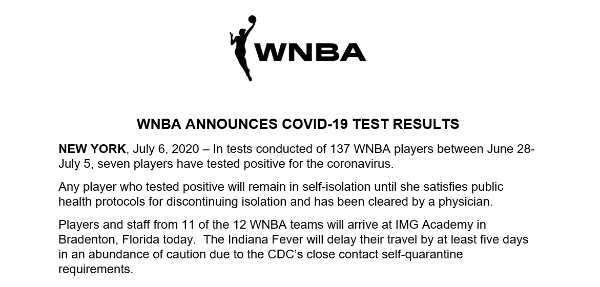 The following was released by the WNBA: https://t.co/tWHWQh8Xjo