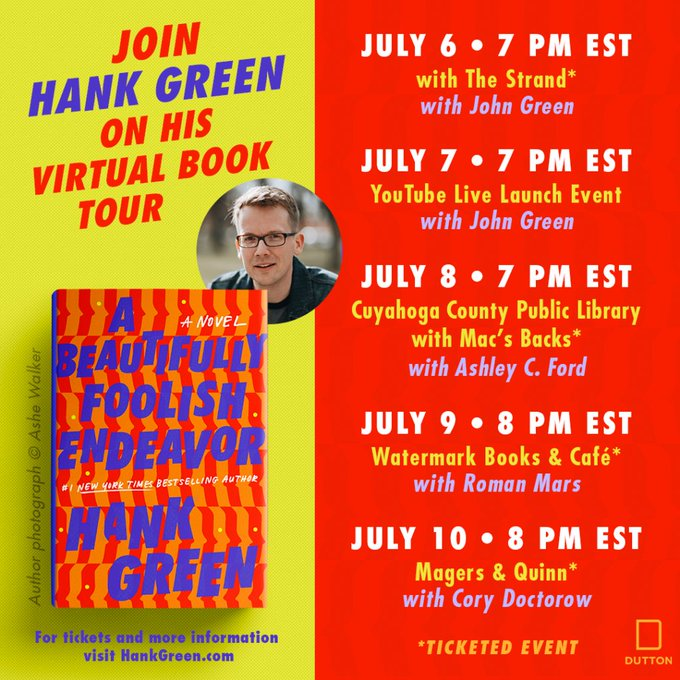 JOIN ME FOR MY VIRTUAL BOOK TOUR! Featuring special guests, music, conversation, mystery! hankgreen.com