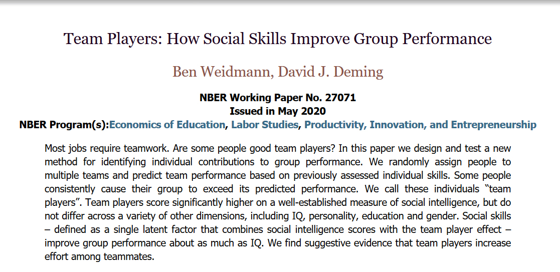 Social skills contribute as much to group performance as individual IQ.  New data: team players add value in part by motivating  everyone else to work harder.  The smartest individuals aren't always the ones who make the team smarter.  #MondayMotivation https://t.co/oKwFIukWXX https://t.co/UcGcX8GamR