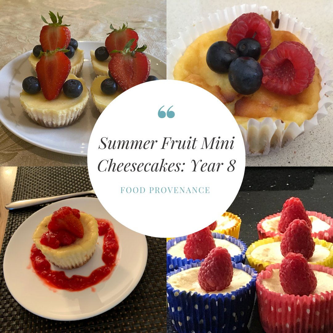 Year 8 made Summer Fruit Mini Cheesecakes as part of their Food Provenance work looking into locally sourced seasonal ingredients.  #manorhouseschool #bookham #leatherhead #SeniorSchoolSurrey #GirlschoolSurrey #IndependentSchoolSurrey