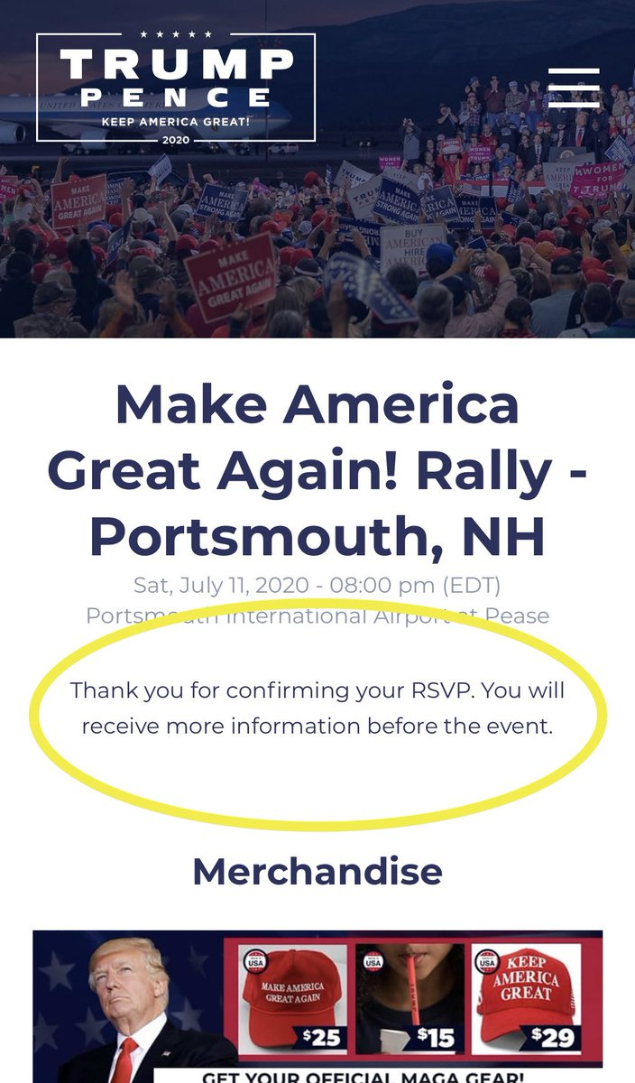 I just ordered two tickets for Trump's MAGA rally on July 11 in Portsmouth, NH. Too bad I won't be attending! It took me just 30 seconds to register. It would be a real shame if thousands of other people who didn't intend to show signed up for tickets. 😉 https://t.co/wZgbmzJ8tX https://t.co/RoXSz3qN70