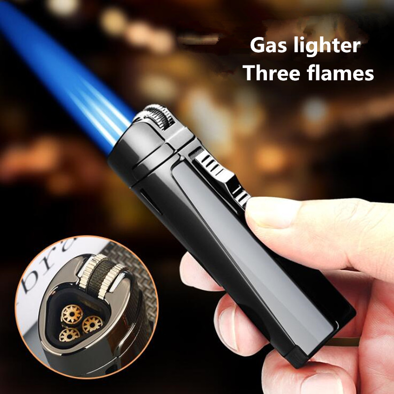 Gas Lighter  Windproof lighter Three Blue Flame Cigar lighter  https://t.co/J44Jk6TeLj https://t.co/SIgKSvhifa
