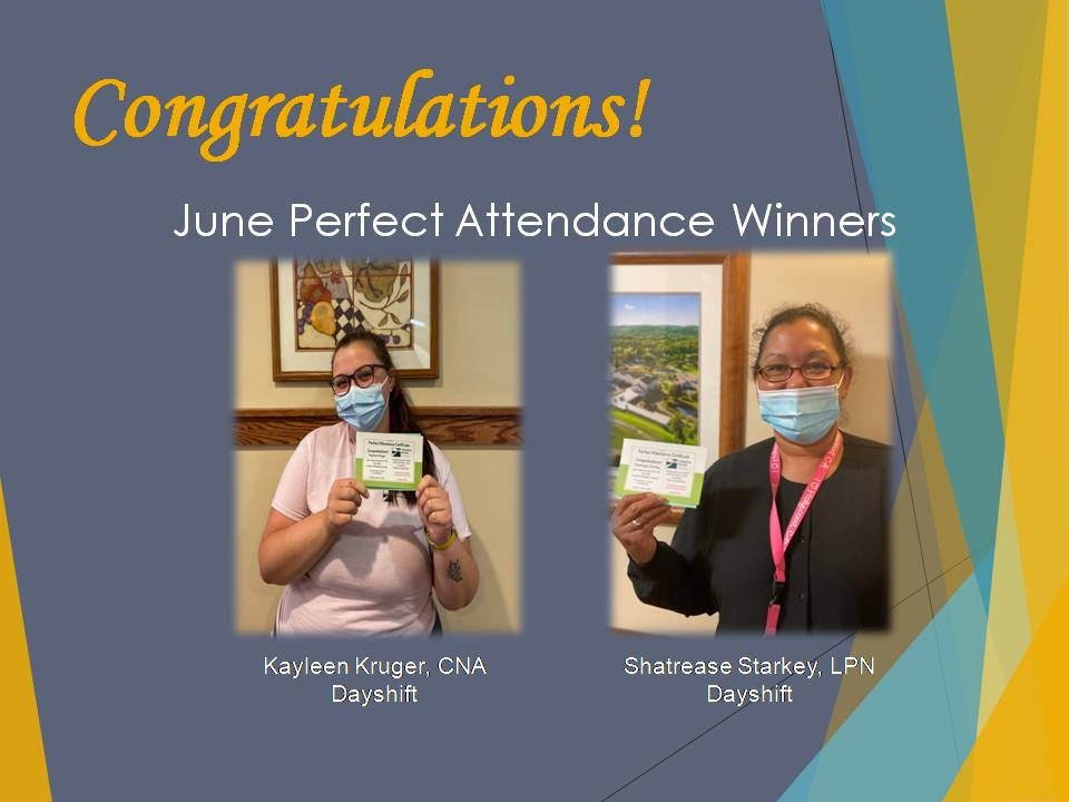Congratulations to our June Perfect Attendance Winners Kayleen, Kruger, CNA and Shatrease Starkey, LPN!  #wesoappreciateyou #perfectattendance #june #goodjob #teamwork #meadowbrookmcfpic.twitter.com/VuorRNeFfc
