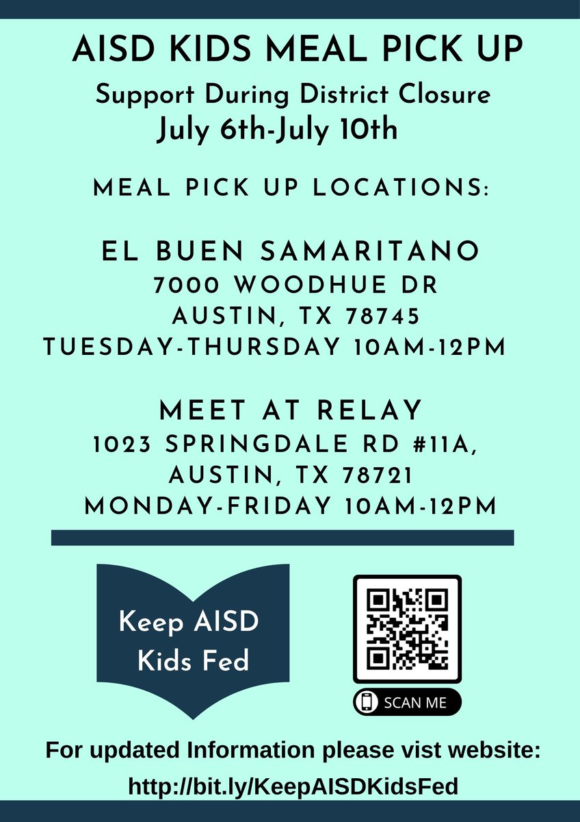 All @AustinISD meal sites are closed July 6-10. While the district is closed, Keep Austin Kids Fed, a community-led initiative, will provide meals from 10 a.m.-12p.m., M-F @meetatrelay (1023 Springdale #11A, 78721) & T-Th @ElBuen (7000 Woodhue Dr, 78745). https://t.co/LIE7bNFU5c https://t.co/ikZHlFRlnR