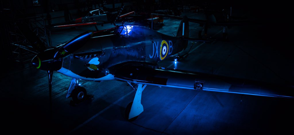 Here's another angle of that rather beautifully lit up @RAFBBMF Hurricane out of @RAFConingsby.  Captured perfectly by SAC Reader in commemoration of all those lost to Covid-19 and to say thank you to the @NHSuk.  #NHS72 #InItTogether https://t.co/puqIlJ2dRQ