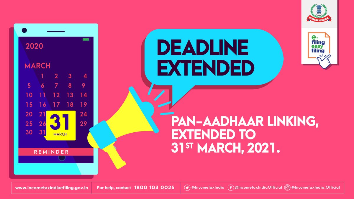 Understanding & keeping in mind the times that we are in, we have extended deadlines. PAN – AADHAAR linking can be done till 31st March, 2021. We do hope this helps you plan things better. #ITDateExtension #FacilitationDuringCovid #WeCare  #IndiaFightsCorona https://t.co/oTHAoLXv21
