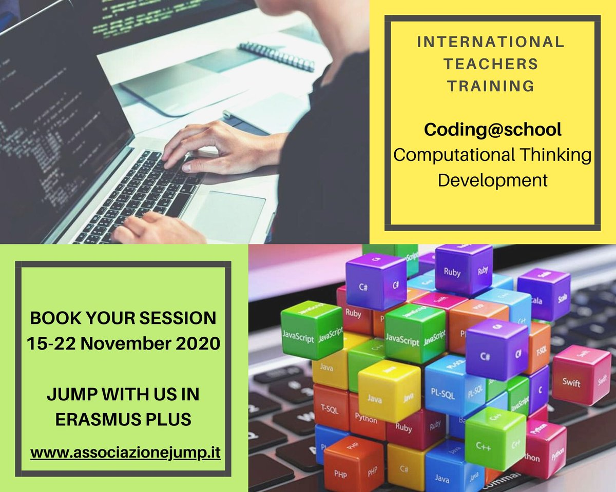 Erasmus Plus Teachers training - CODING@SCHOOL-COMPUTATIONAL THINKING DEVELOPMENT 15-22 November 2020 https://www.associazionejump.it/erasmus-trainings…  info@associazionejump.it #Teaching #Training #course #Coding #Soverato #SouthItaly #JumpwithUs #ErasmusPlus #Teachers #European #schools #Calabriapic.twitter.com/fJ4nNNtl6T