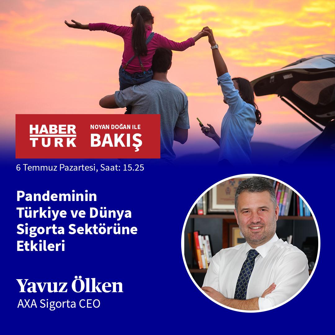 """Bakış Programı'nda bugün saat 15.25'te yayınlanacak programda, AXA Sigorta CEO'su Yavuz Ölken ile """"Pandeminin Türkiye ve Dünya Sigorta Sektörüne Etkileri"""" üzerine konuşacağız. https://t.co/cUtCcSuKSD"""