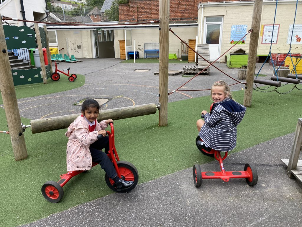 Exploring our year 1 playground a lovely morning once again for our reception friends