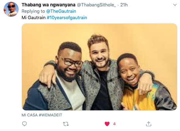 """Thank you to everyone for entering your chart-topping band name suggestions using """"Gautrain""""!  This week's number one spot goes to @ThabangSithole_ – congratulations!  An awesome Takealot voucher and Gautrain card are coming your way. #10YearsofGautrain https://t.co/w6YR1kjyjW"""