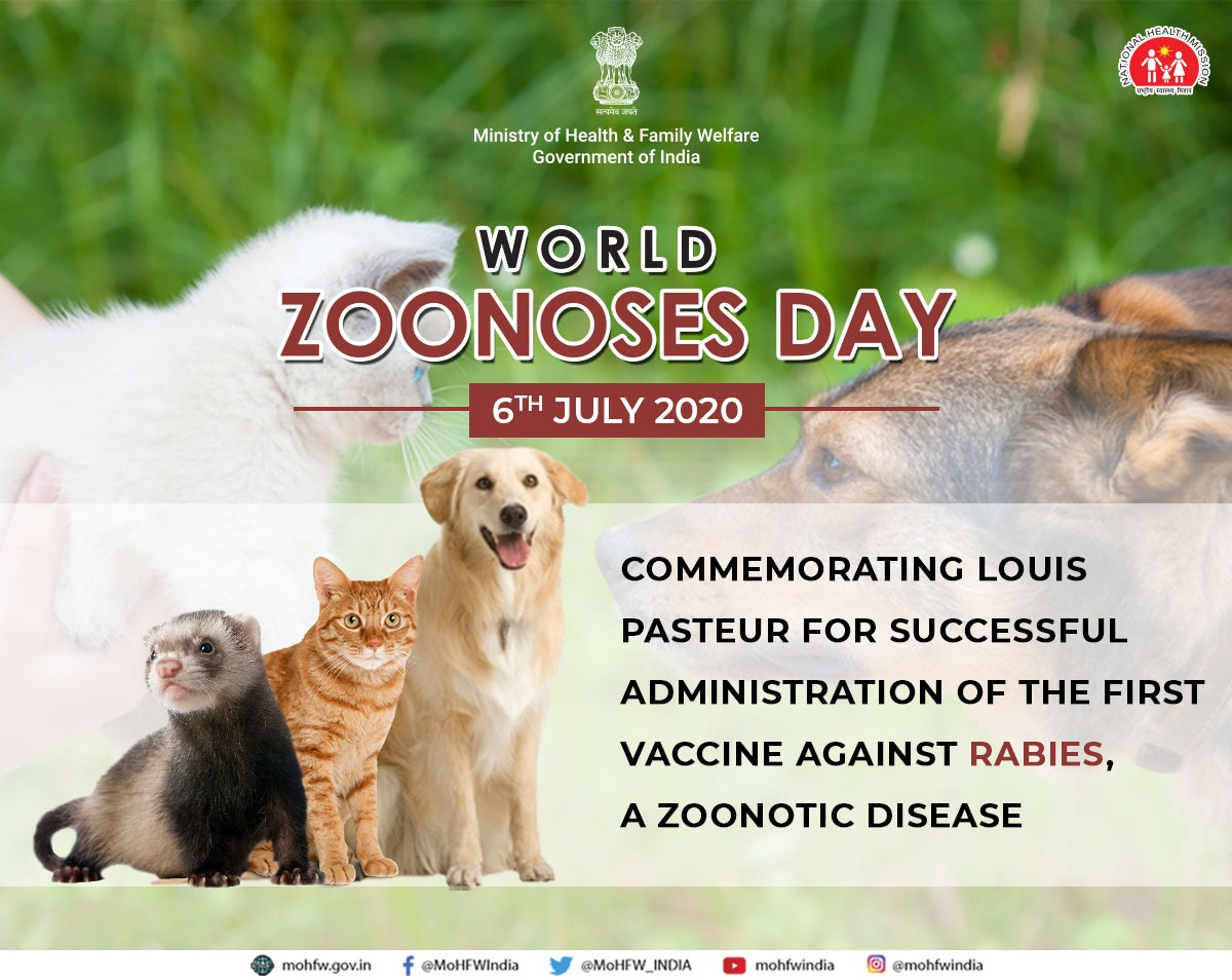 On 6th July 1885, French biologist Sir Louis Pasteur administered the first vaccine against the deadliest zoonotic disease, Rabies. On this #WorldZoonosesDay, India pledges to undertake continued measures to prevent zoonoses through One Health approach. #HealthForAll