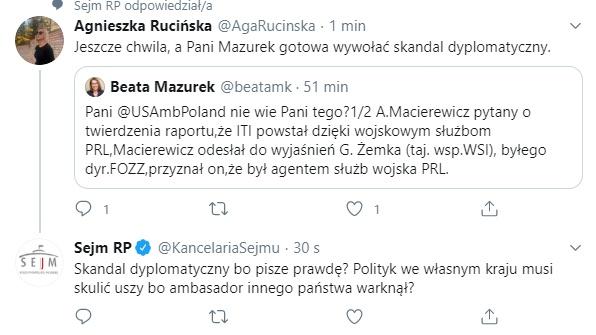 Tweet Agnieszki Rucińskiej na temat Beaty Mazurek
