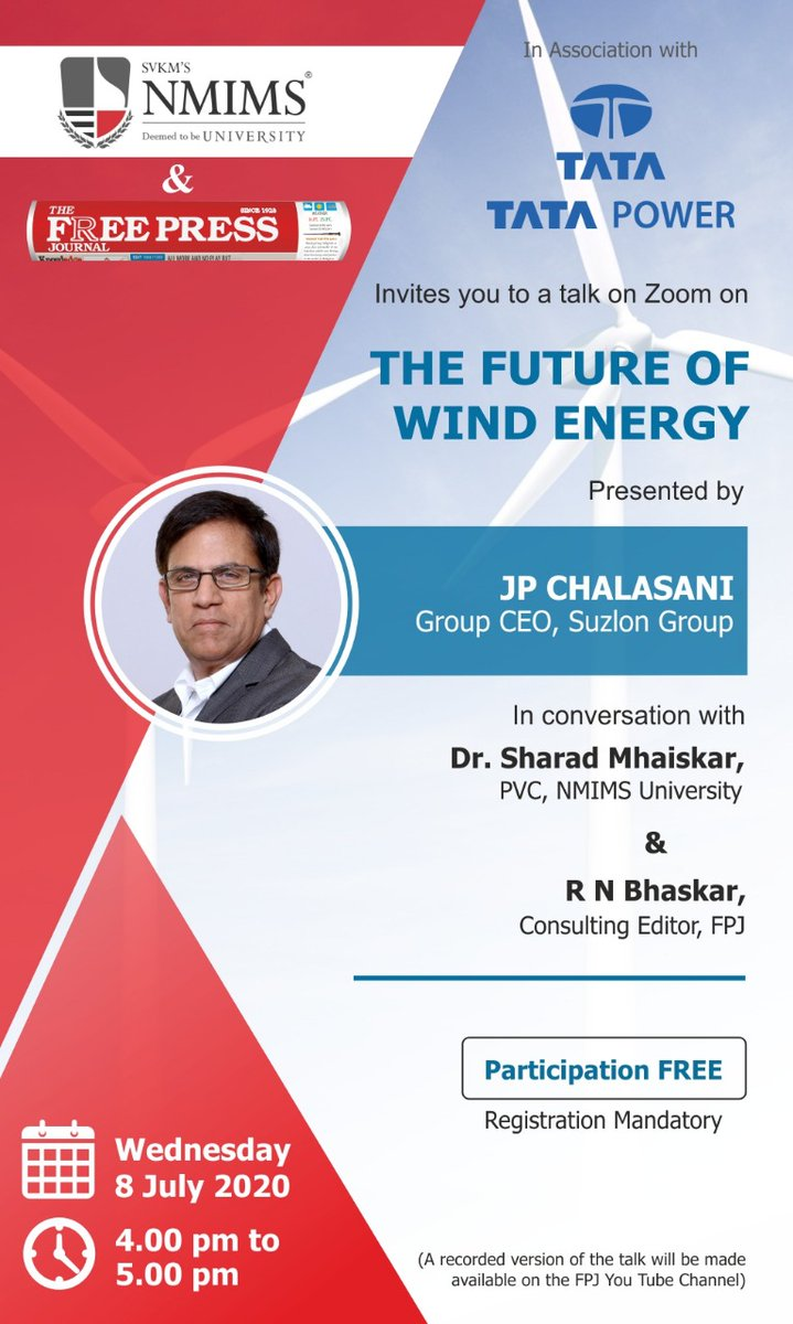Tata Power invites you to a webinar on Zoom on the future of wind energy on Wednesday 8 July from 4PM to 5PM. This will be presented by JP Chalasani, Group CEO, Suzlon Group. To participate register here: https://t.co/hlB8f4vzIg #ThisIsTataPower @Suzlon https://t.co/gU1WDcJwP3