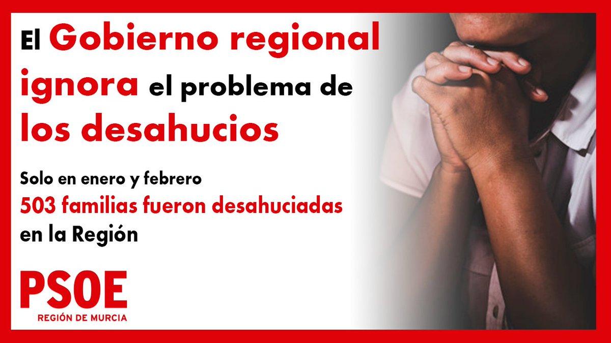 🏘️El Gobierno regional ignora el problema de los desahucios.  ⚠️Su número en la Región es escalofriante: solo en enero y febrero desahuciaron a 503 familias.  ➡️El decretazo de López Miras va en la dirección contraria a garantizar el derecho a vivienda.  https://t.co/KoTCWJYuIK https://t.co/1VqIB7uLnd