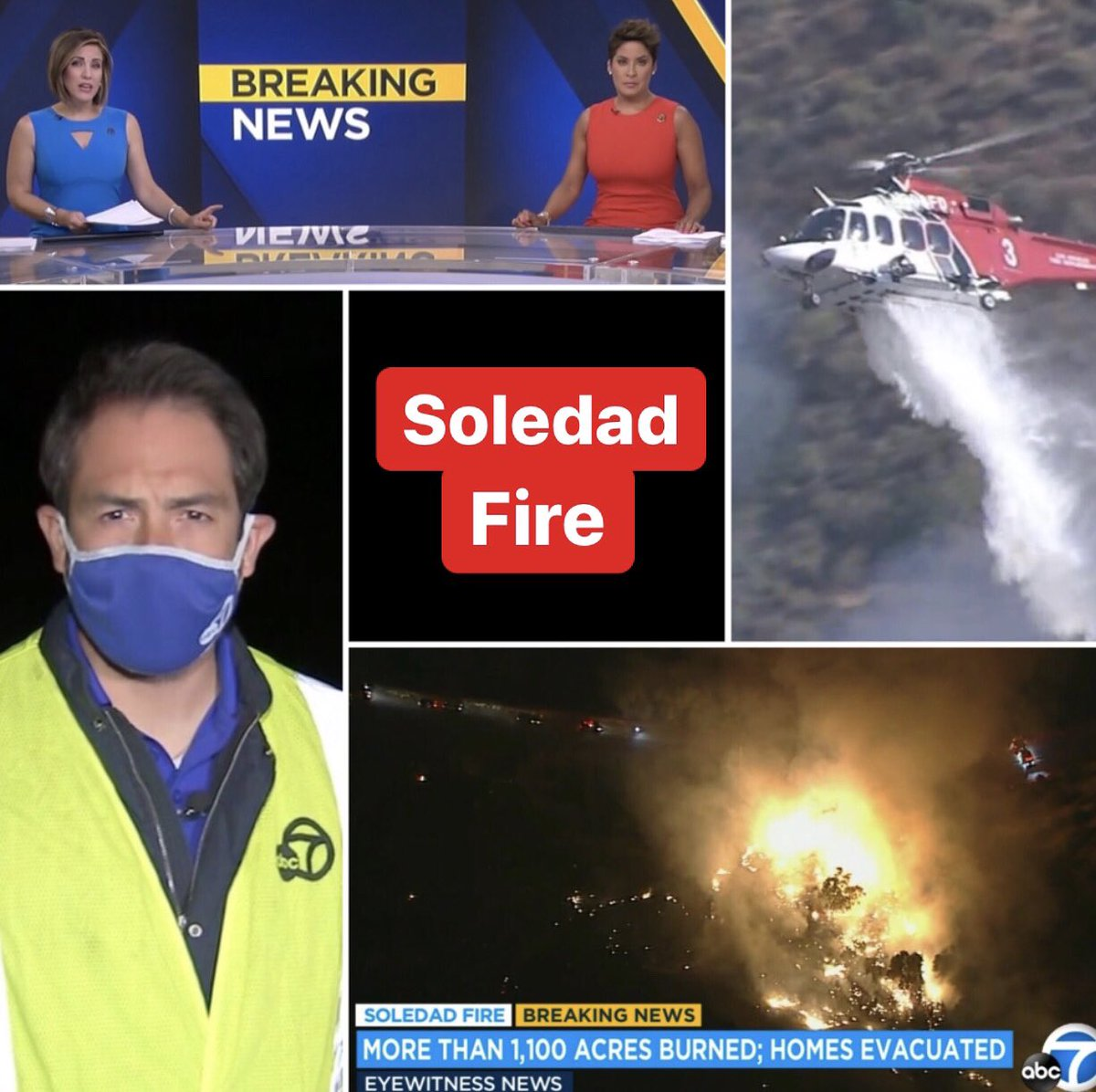 #DEVELOPING on @ABC7: @abc7marccr is LIVE at the #SoledadFire near #AguaDulce with the latest on the firefight. 1,100 acres have burned. Several homes remain evacuated. https://t.co/hIgBBFrH3a #wildfire #SoCal #Heat #weather #FireDanger #LACounty https://t.co/5jUoTi5zbQ