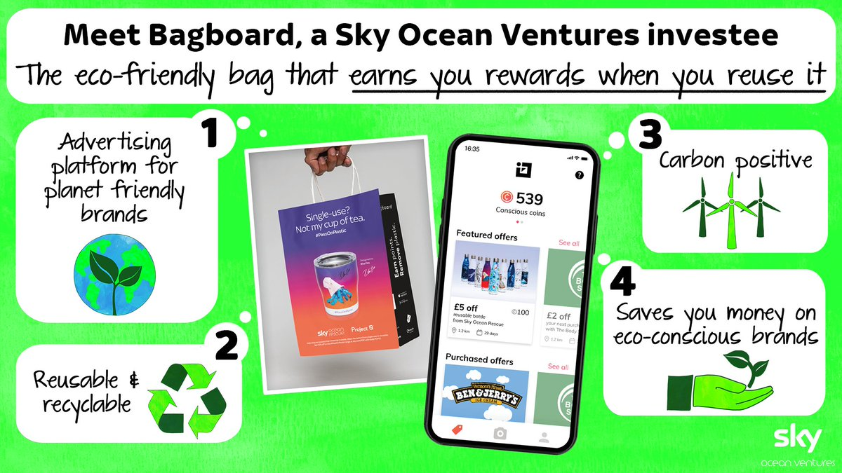 We're partnering with @Bagboard a #SkyOceanVentures investment, which rewards you for carrying eco-friendly bags. 🛍️ 🌱 Find out how they're making shopping more sustainable: https://t.co/6dMCGGgR0y https://t.co/FlktIKZCQa