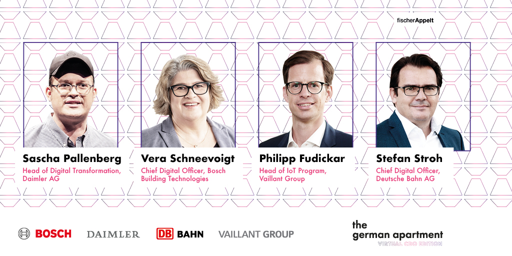 Am 14. Juli diskutieren vier CDOs bei @TheGerApartment ihre ganz eigenen Perspektiven auf Unternehmen im digitalen Deutschland. 👾 Mit dabei: @MeyerVera (@BoschPresse), Stefan Stroh (@DB_Presse), @sascha_p (@Daimler) & Philipp Fudickar (@vaillant_de).  ➡️ https://t.co/CB5lOouKaA https://t.co/XWKiMkeQDq