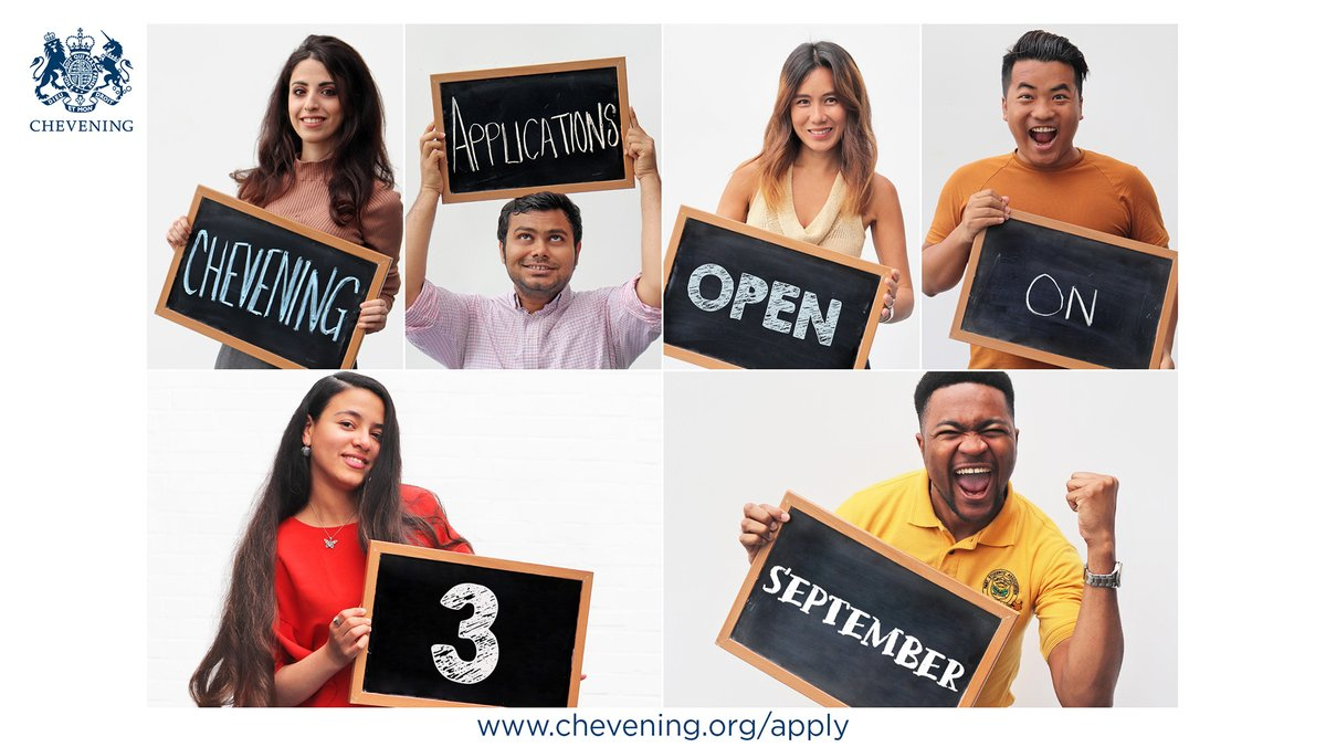 We are pleased to announce that applications for 2021/2022 Chevening Scholarships will open on 3 September and close on 3 November. Due to the ongoing impact of COVID-19, the application window is shorter than usual. However, you can start preparing here: chevening.org/scholarships/w…