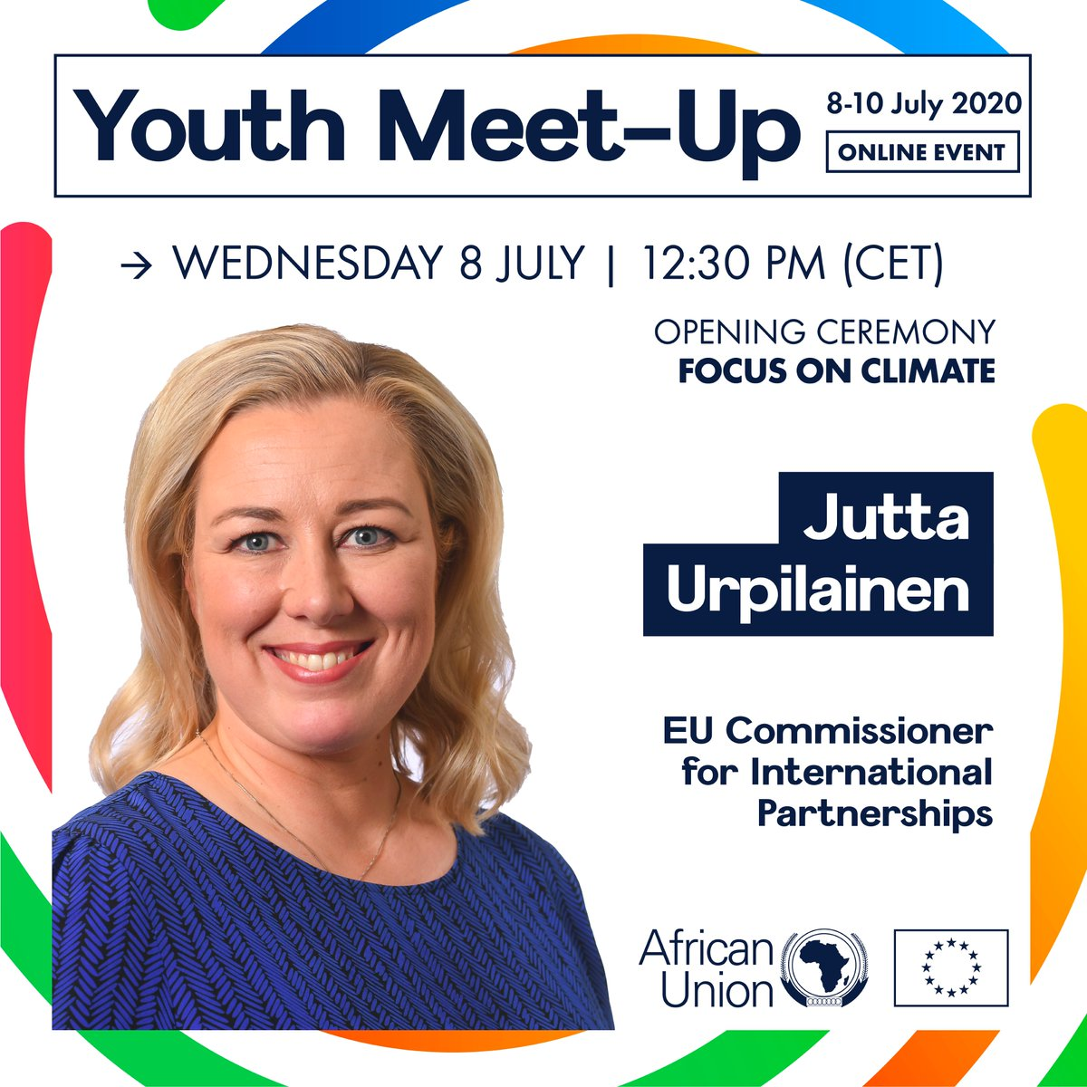 🇪🇺 Commissioner @JuttaUrpilainen will kick-off the #AUEUMeetUp❗   A proud moment before we start 3-days of discussions on #AU #EU cooperation🤝   Are you ready? ⏰We are! ✅ So is the #youth of today who will design the world of tomorrow!  Full programme👉https://t.co/hygLz5wn1l https://t.co/9tKethBhpQ