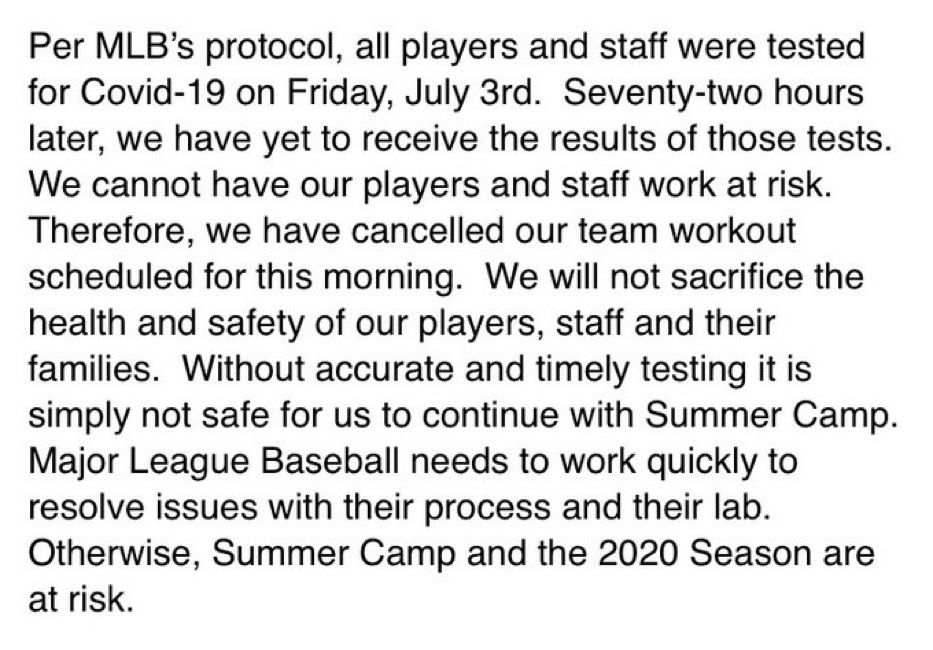 Statement from Nationals GM Mike Rizzo shows MLB needs to improve testing quickly to have a season