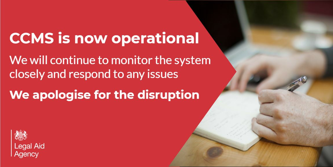 CCMS is now available for all #LegalAid firms whilst we continue to carry out operational testing.   We will monitor the system closely and respond to any issues.   Once again we apologise for the disruption you may have experienced over the last few days (1/3)  #lawfirms #legal https://t.co/8FgWOhzXjr