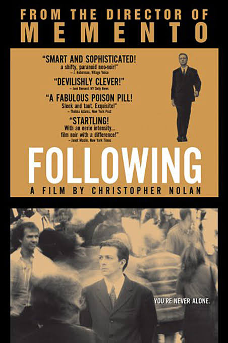 Just watched #ChristopherNolan 's debut film, #Following The #AlfredHitchcock -inspired, neo-noir film was fast-paced, full of plot twists and flashbacks. And the ending is just a Nolan-signature. Loved how this film encapsulates the 40's/50's film, shot in all black & white. pic.twitter.com/DmpDEHzICr