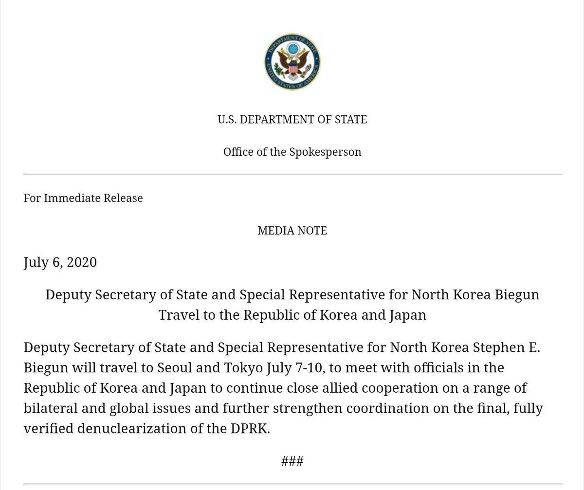 State Department confirms Steve Biegun will visit South Korea and Japan this week. https://t.co/kRzPRynP4A