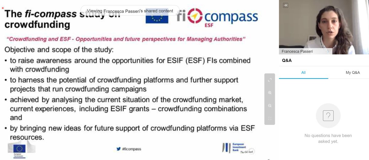 🎙️@fpasseri92 presenting the brand new @EIB manual to inspire #ManagingAuthorities in combining #crowdfunding with #ESF for their next #FP20212027 👉@ficompass #webinar https://t.co/ifpi6prsSh https://t.co/vsZ5vAFKnu