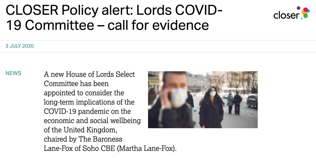 8, Looking at the policy world, the new Lords COVID-19 Committee has launched a call for evidence for their inquiry looking at what #COVID19 may mean for our daily lives (at work and home) in the long term.  ➡️Find out more: https://t.co/56OQOqX79R https://t.co/H1KziJxprg