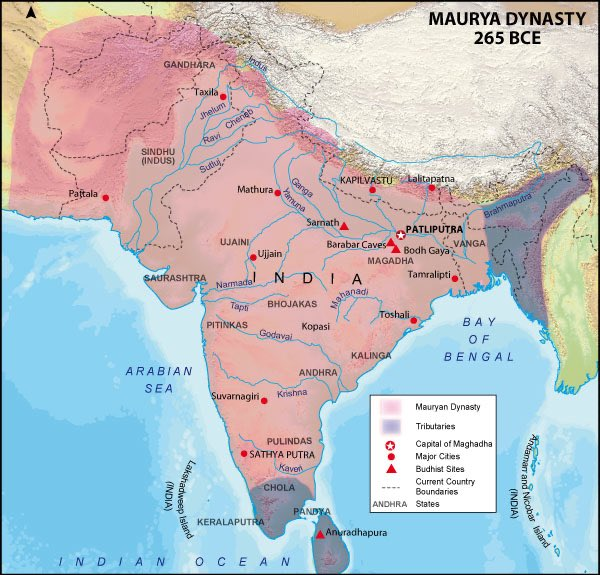 Ancient India was a subject of fascination to the Greek world before & after Alexander's campaign. From 323-185 it was home to the mighty Maurya Empire, the largest until the Mughals. The Maurya collapse prompted invasion by Greek kings from Bactria, who ruled for centuries after