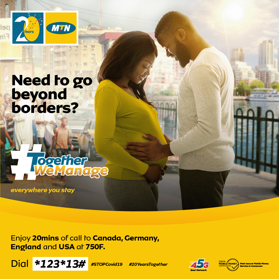 Y'ello! MTN opens all borders and allows you to check on your loved ones without requiring a visa. With the international bundles, enjoy 20 mins of calls to Canada, Germany, UK and USA at only 750F.  Dial *123*13# #StopCovid19 #TogetherWeManage #20YearsTogether https://t.co/4Nqx8gXnD9