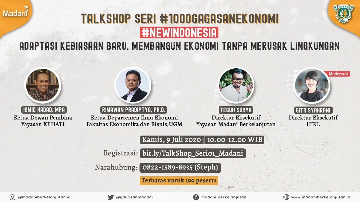 Halo Sobat Madani, TalkShop Madani kembali lagi nih. Penasaran edisi #TalkShop kali ini membahas apa?  Yang jelas masih dalam suasana #DirumahSaja. Talk Shop kali ini membahas seperti apa sih pembangunan ekonomi tanpa merusak lingkungan. https://t.co/G2U1q99SYx
