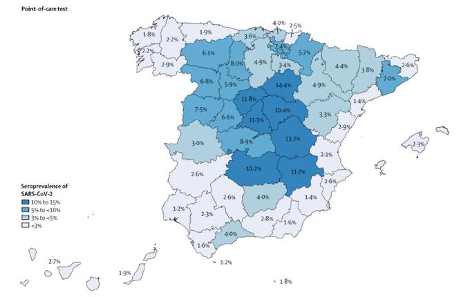 COVID19 Seroprevelence in Spain July 2020