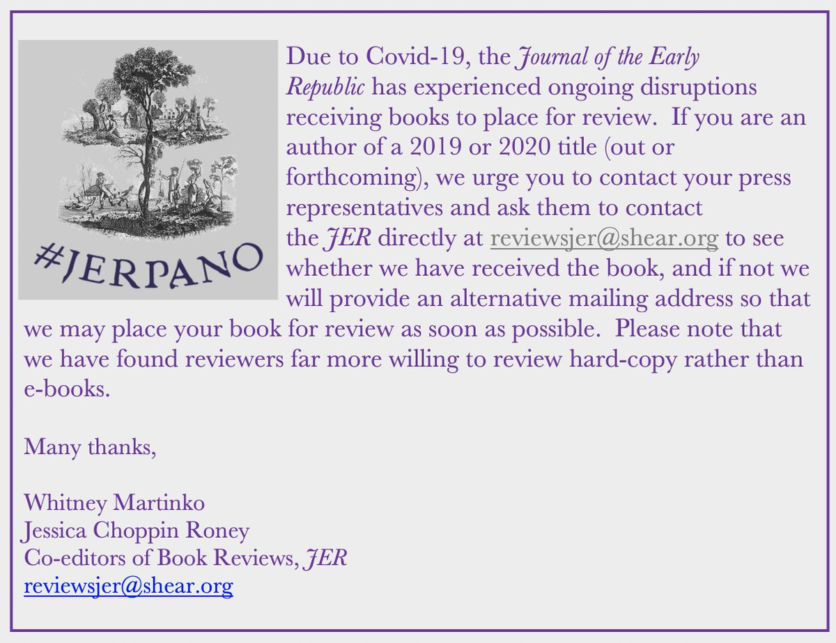 Here is a note for recent authors from the #JER book reviews team: check out the message below on how to ensure your book is in the pipeline for review. Also posted at the #JERPano: https://t.co/KBGPctUeR2 https://t.co/Y9WPDOhHiV