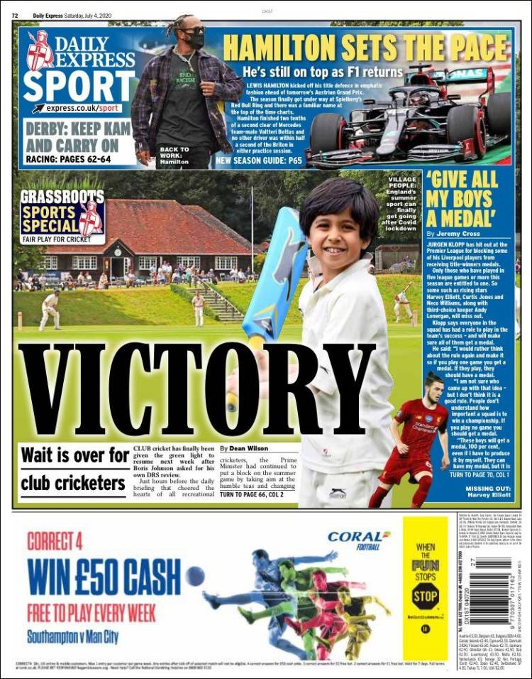 🏴 Front page of #DailyExpress Sport 📰 2020-07-06   #edicola #primapagina #Arsenal #Chelsea #Liverpool #Spurs #Manchester #ManUnited #ManCity #transfers https://t.co/Uv0ahkOERI